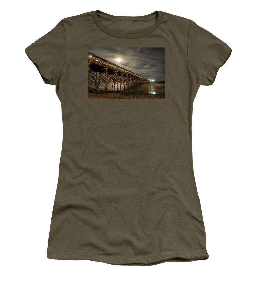Fullmoon Women's T-Shirt featuring the photograph Folly Beach Pier At Full Moon by Gunter Weber