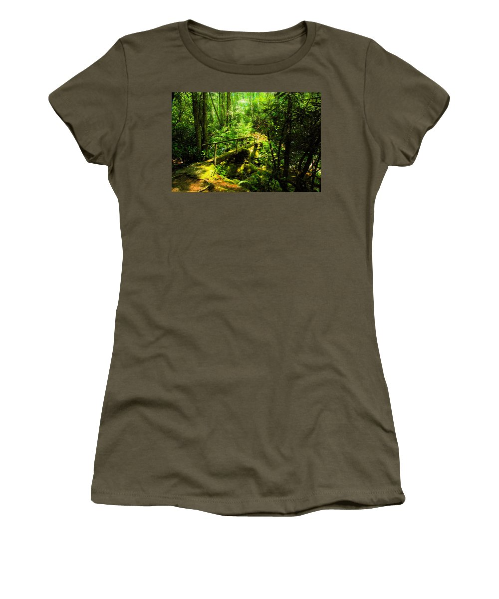 Art Women's T-Shirt featuring the painting Foot Bridge by David Lee Thompson