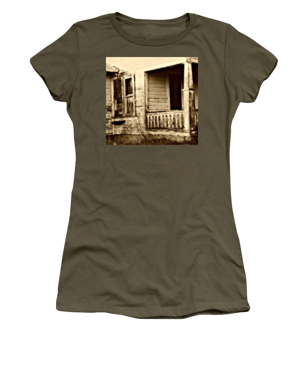 Old House Women's T-Shirt featuring the photograph Foot Steps On The Front Porch by Jessica Kristoff