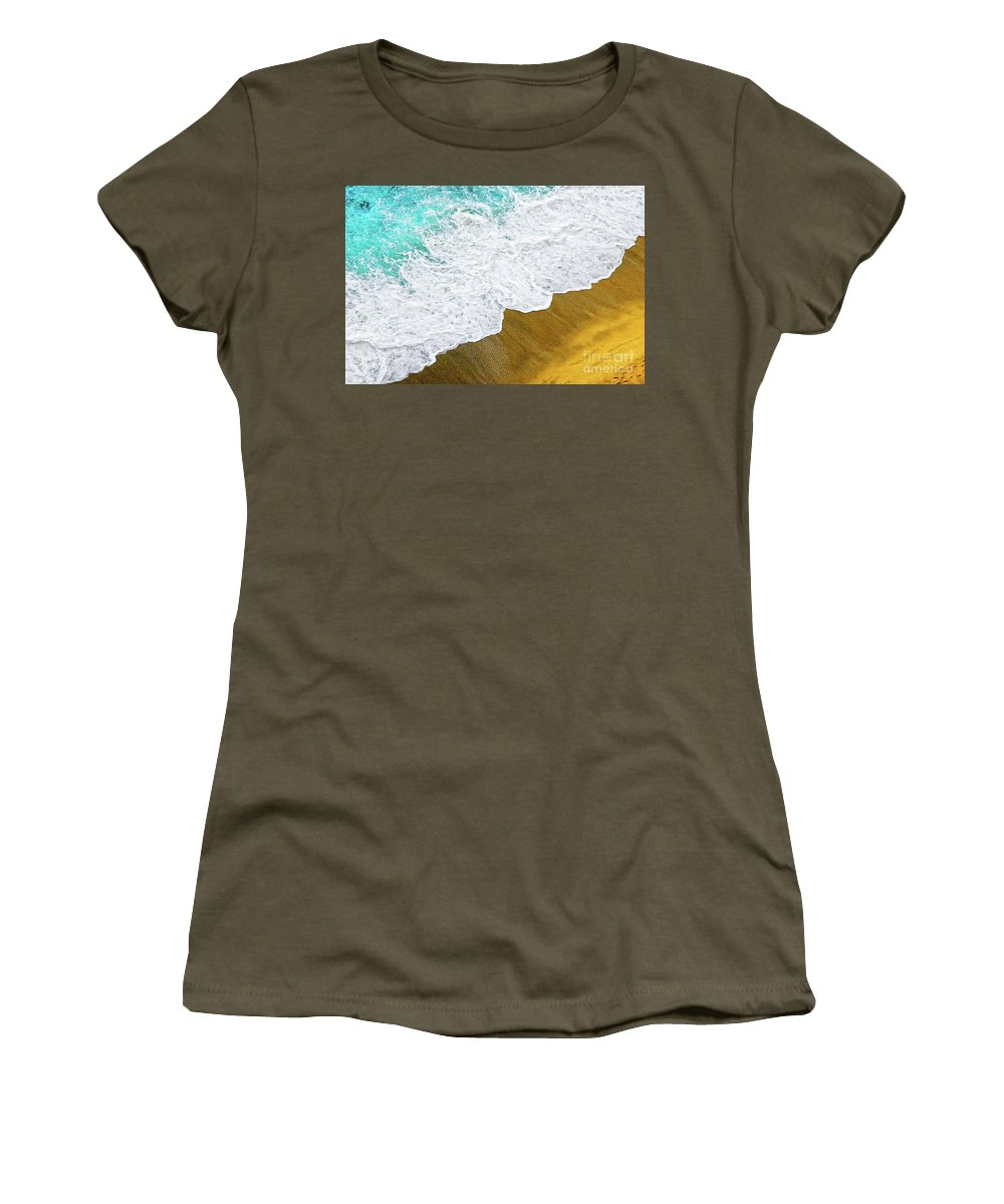 Water Women's T-Shirt featuring the photograph Footsteps In The Sand Hopelessly Facing The Rising Tide by Silvia Ganora