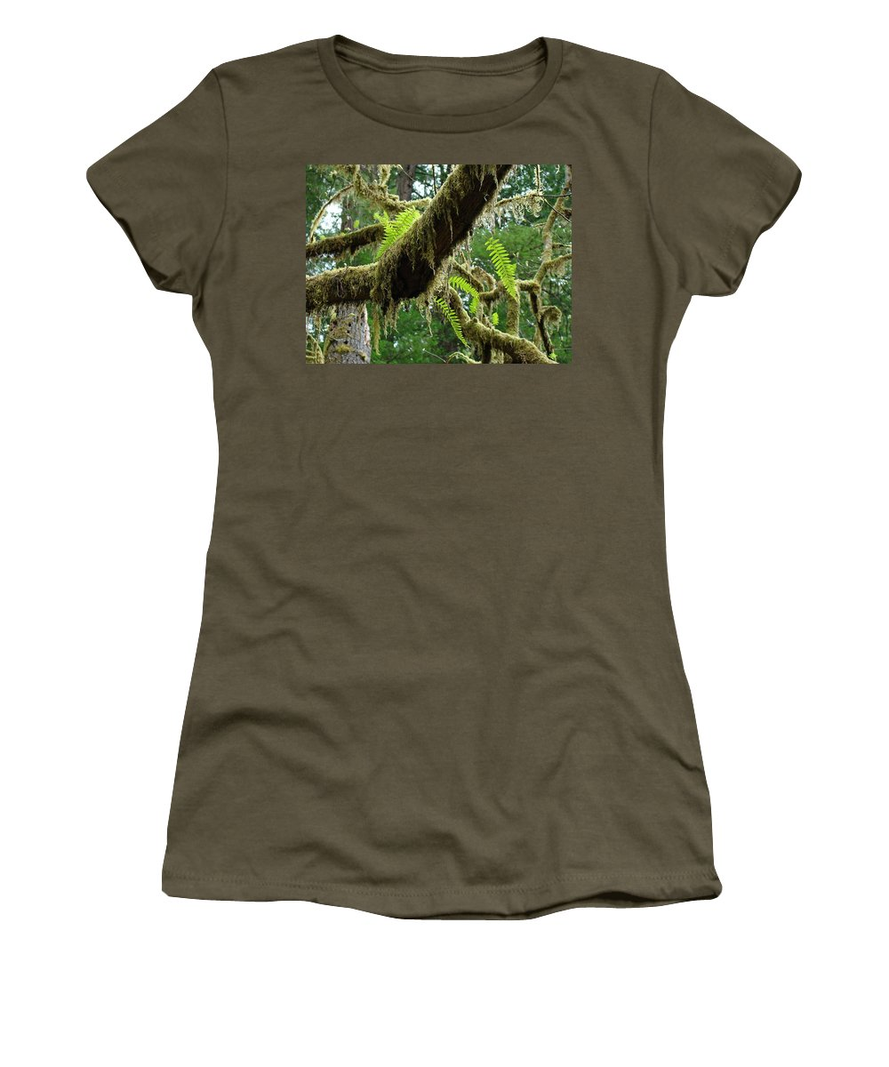 Fern Women's T-Shirt (Athletic Fit) featuring the photograph Forest Ferns Art Prints Fern Giclee Prints Baslee Troutman by Baslee Troutman