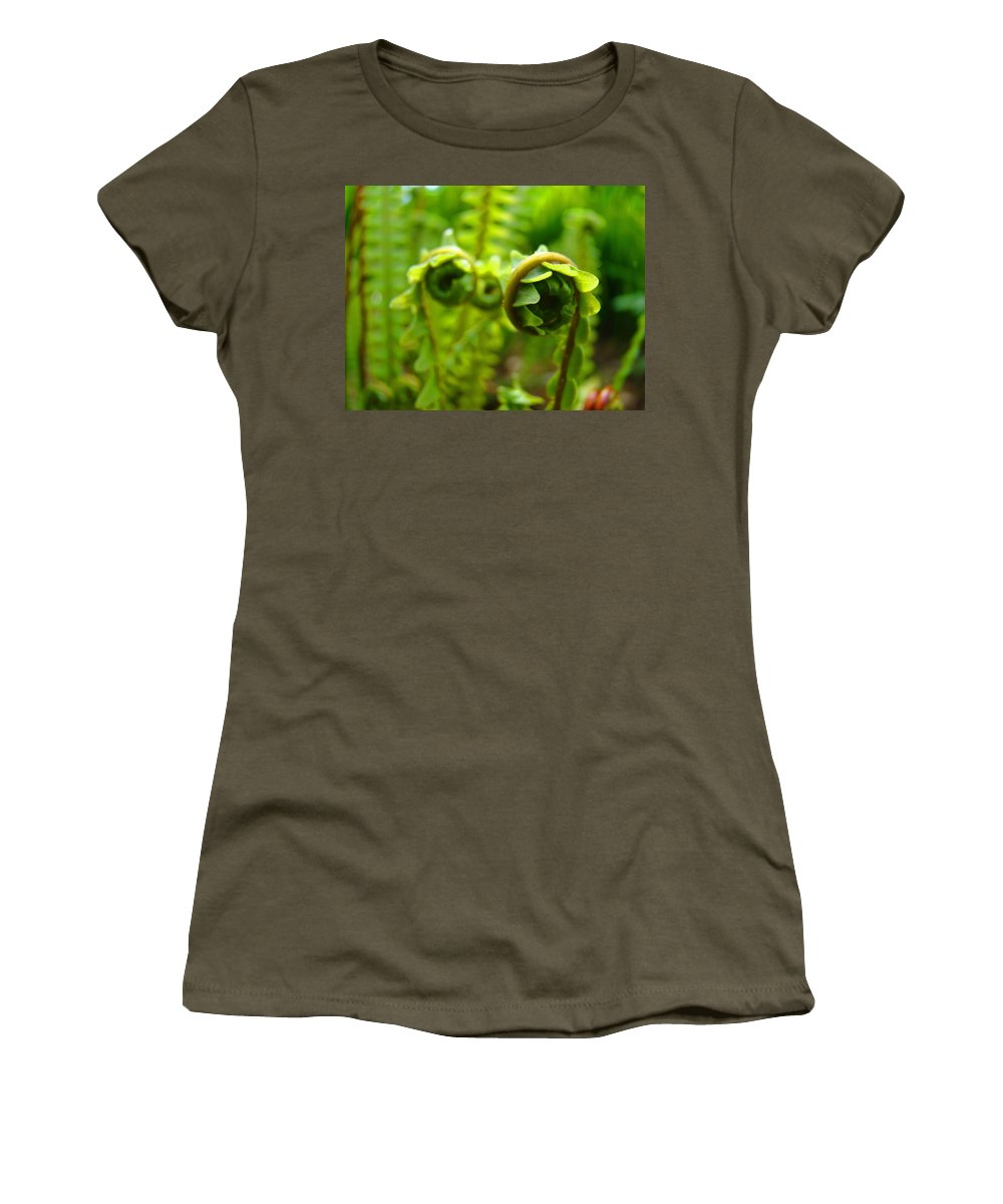 Fern Women's T-Shirt (Athletic Fit) featuring the photograph Forest Ferns Fine Art Photography Art Prints Baslee Troutman by Baslee Troutman