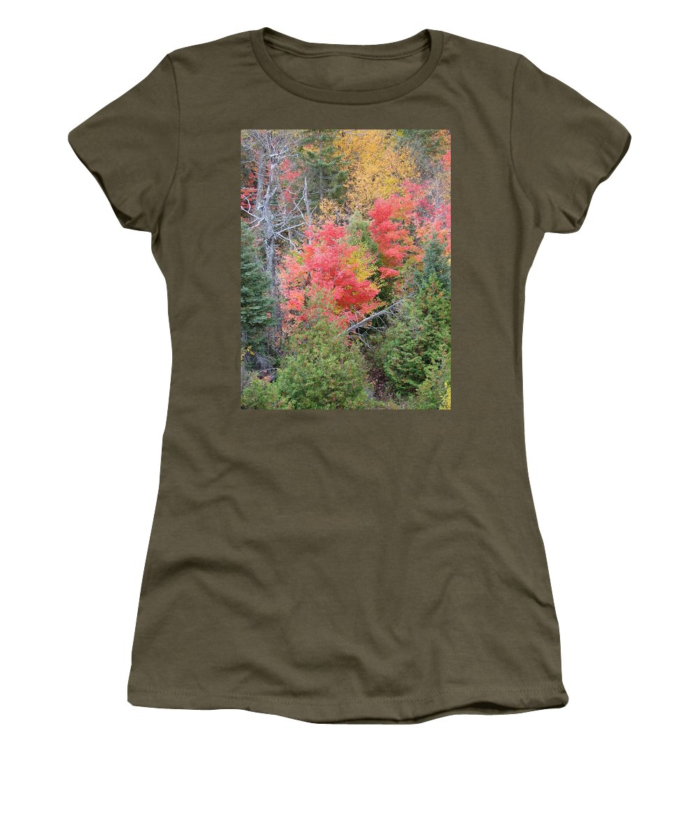 Fall Women's T-Shirt (Athletic Fit) featuring the photograph Forest Fire by Kelly Mezzapelle
