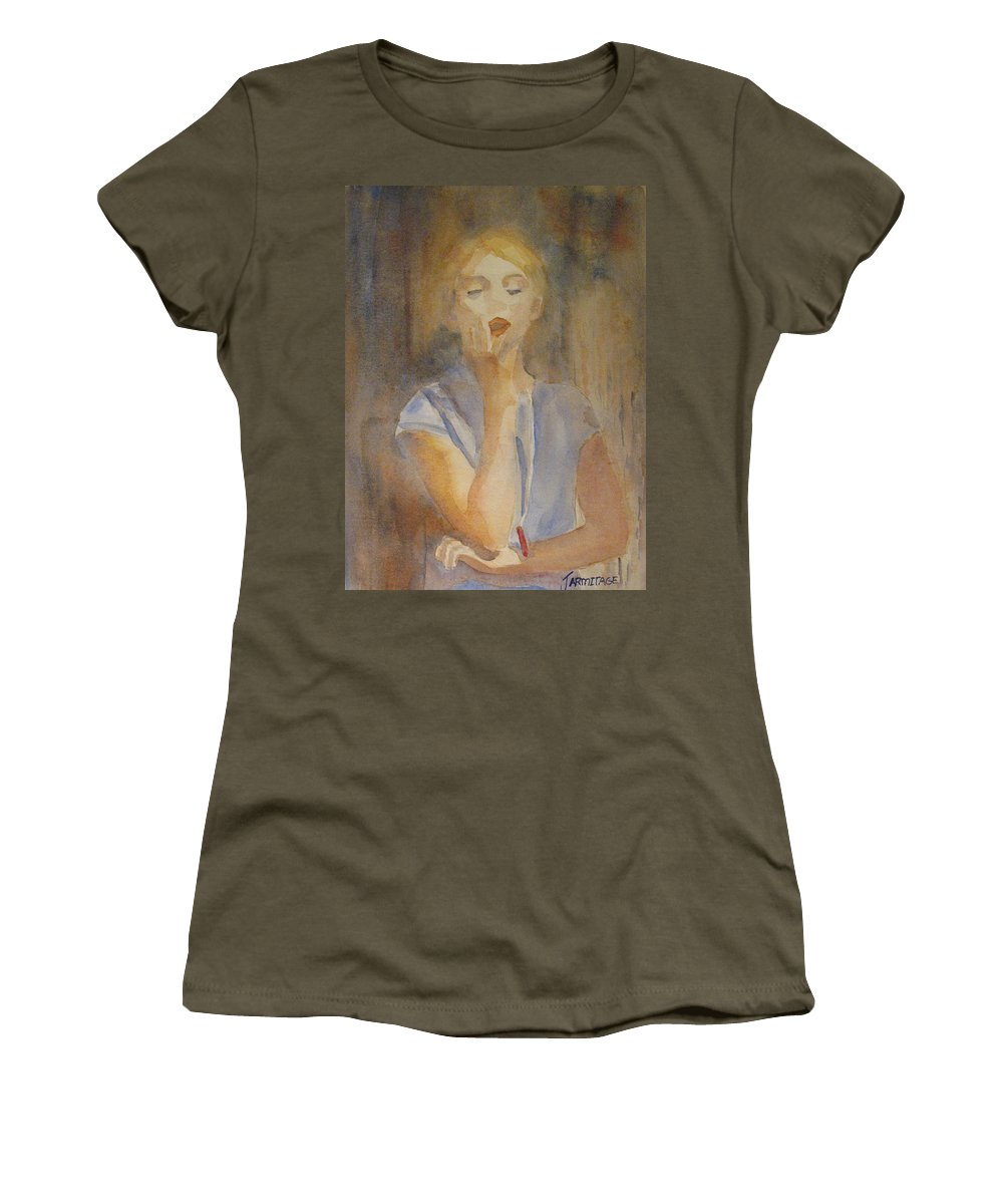 Woman Women's T-Shirt (Athletic Fit) featuring the painting Forest Singer by Jenny Armitage