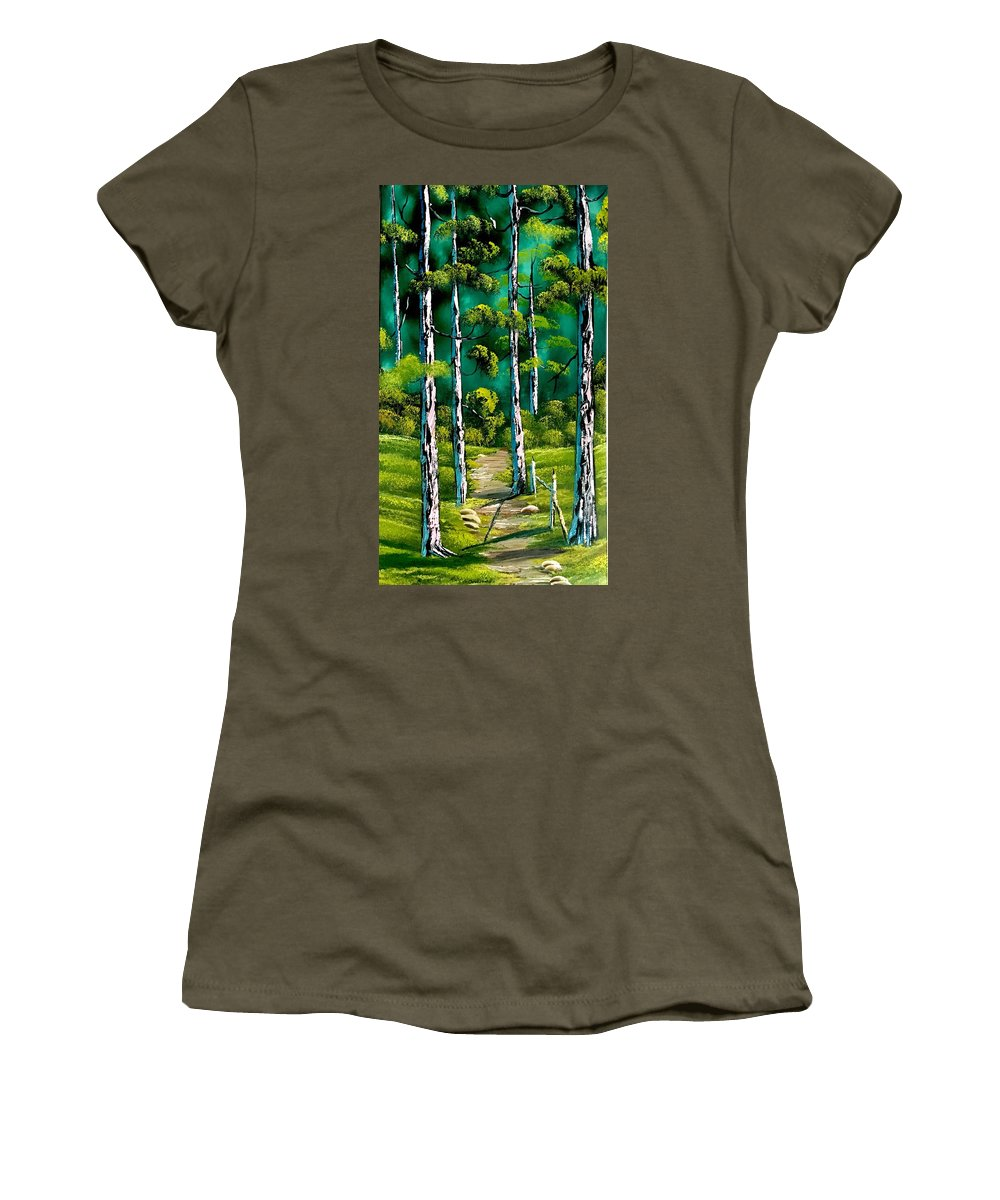 Landscape Women's T-Shirt (Athletic Fit) featuring the painting Forest Trail by Jonathan Colon