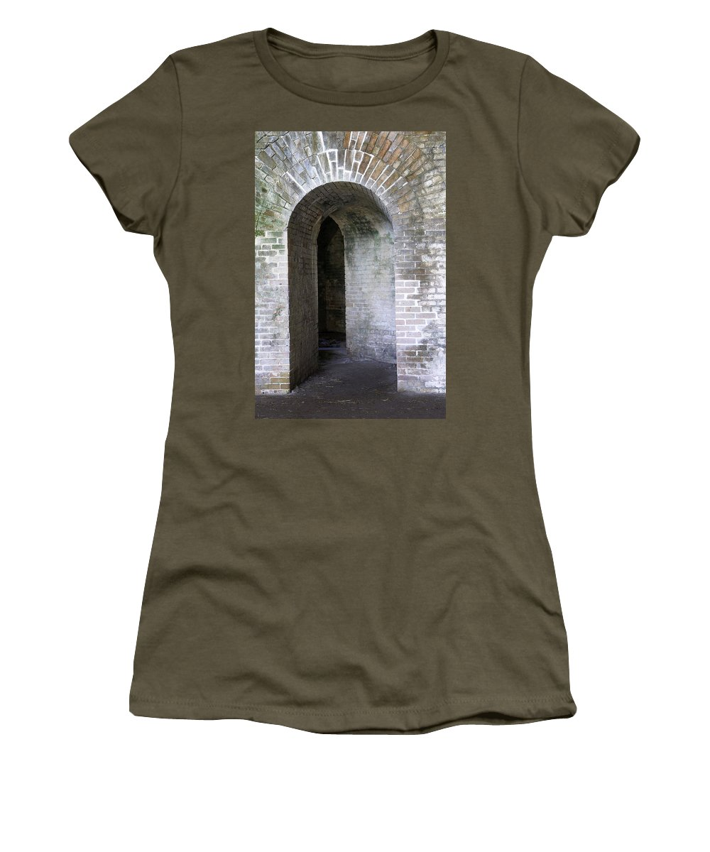 Fort Women's T-Shirt featuring the photograph Fort Pickens Entrance by Laurie Perry