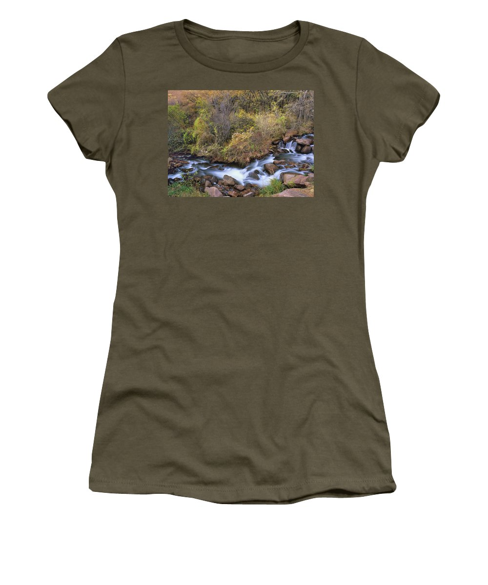 Fountain Creek Women's T-Shirt (Athletic Fit) featuring the photograph Eventually, It'll End Up In The Gulf Of Mexico.  by Bijan Pirnia