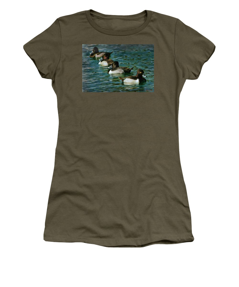Women's T-Shirt featuring the photograph Four Ducks In A Row by Blake Richards
