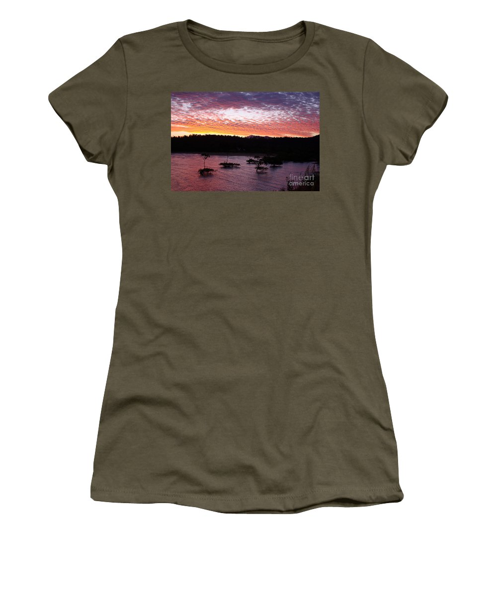 Landscape Women's T-Shirt featuring the photograph Four Elements Sunset Sequence 3 Coconuts Qld by Kerryn Madsen - Pietsch