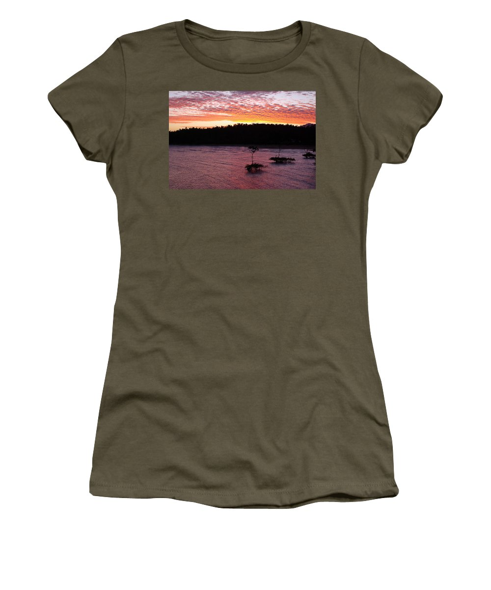 Landscape Women's T-Shirt featuring the photograph Four Elements Sunset Sequence 5 Coconuts Qld by Kerryn Madsen - Pietsch