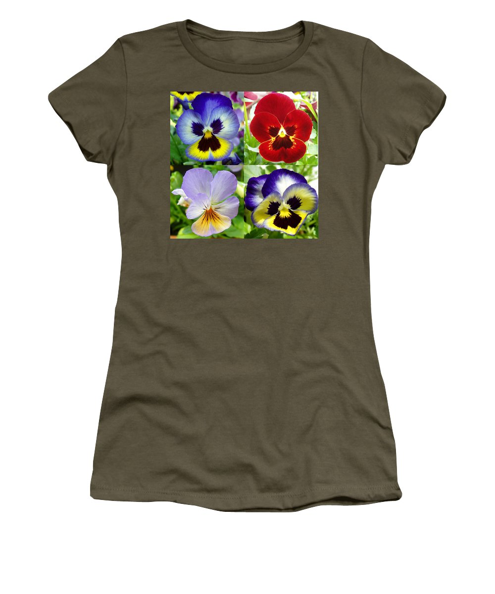 Pansy Women's T-Shirt featuring the photograph Four Pansies by Nancy Mueller