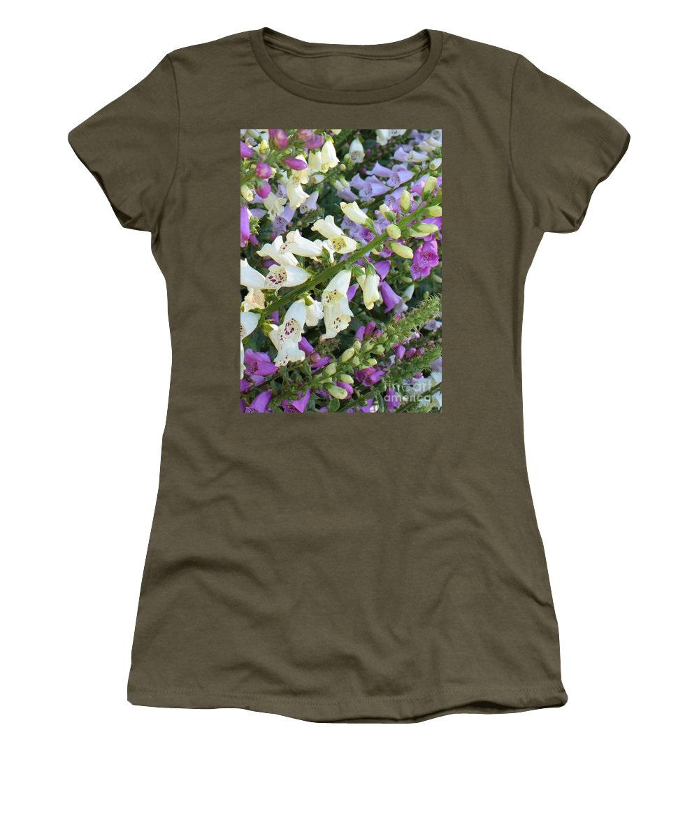 Purple And White Foxglove Women's T-Shirt featuring the photograph Foxglove Fancy by Carol Groenen