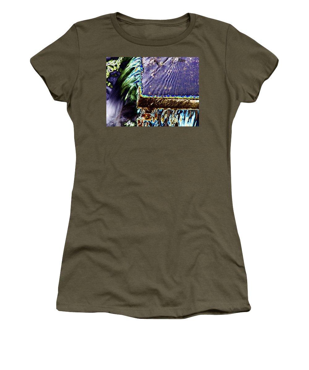 Seattle Women's T-Shirt featuring the digital art Freeway Park Waterfall by Tim Allen