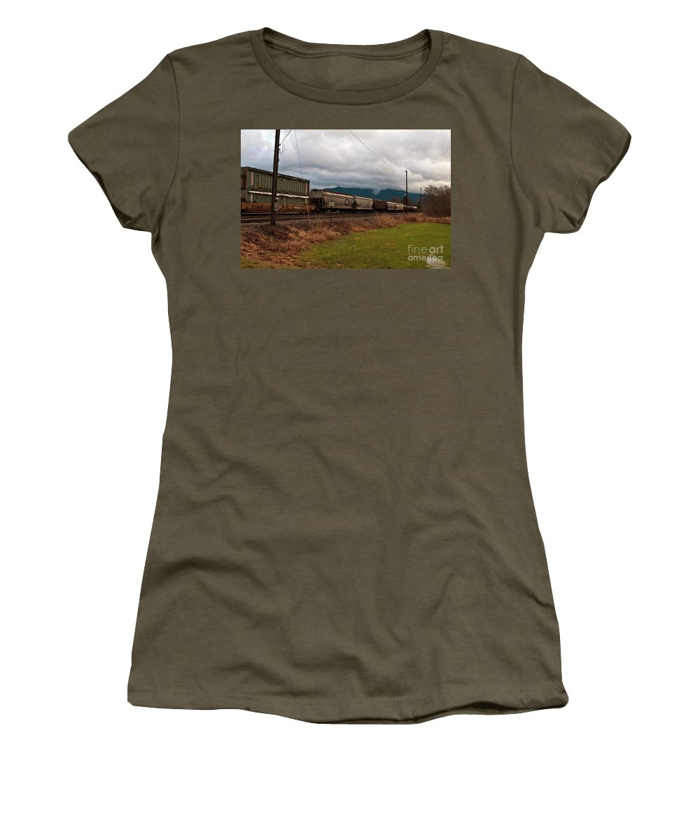 Clay Women's T-Shirt featuring the photograph Freight Rain by Clayton Bruster