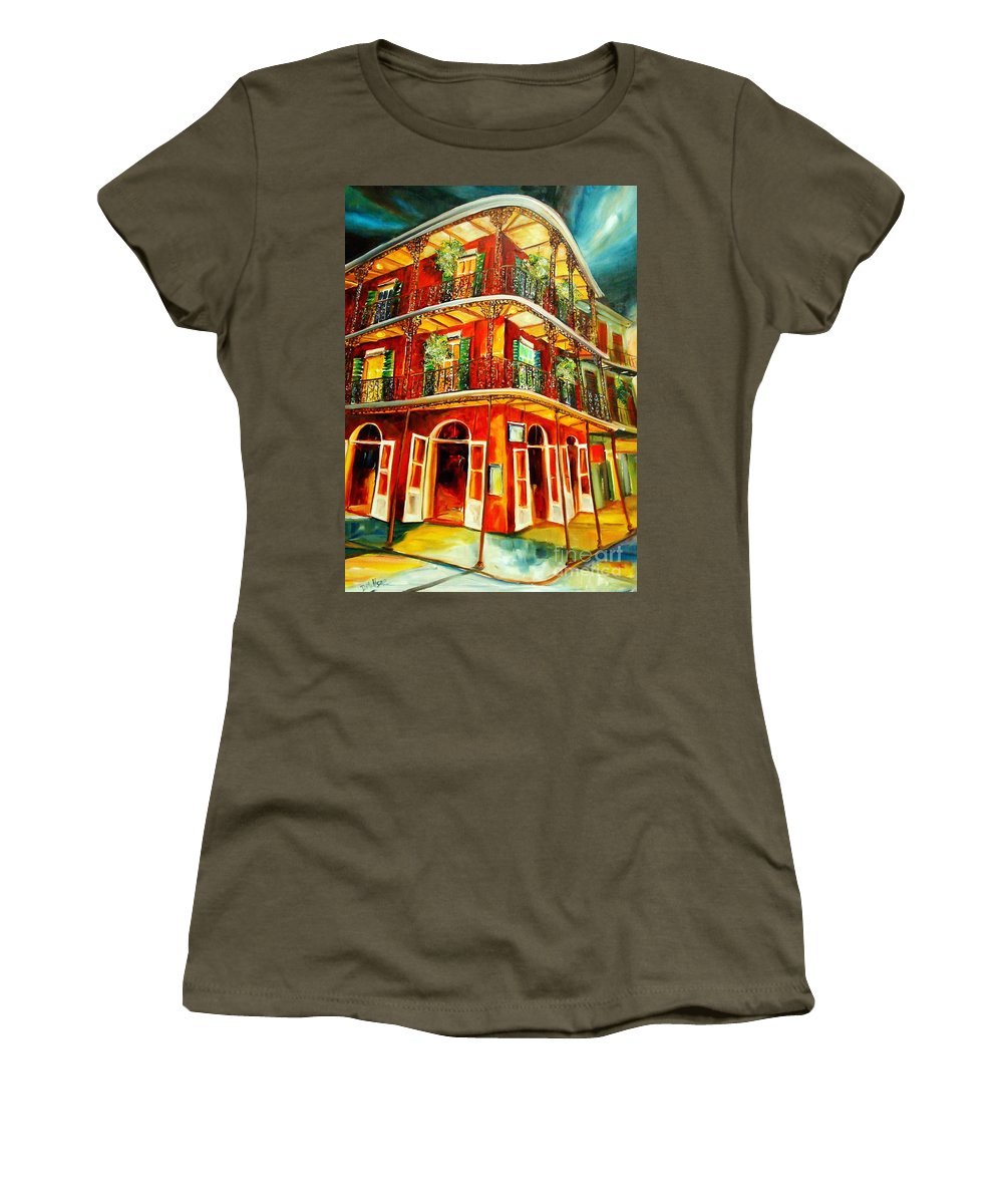 New Orleans Women's T-Shirt (Athletic Fit) featuring the painting French Quarter Corner by Diane Millsap