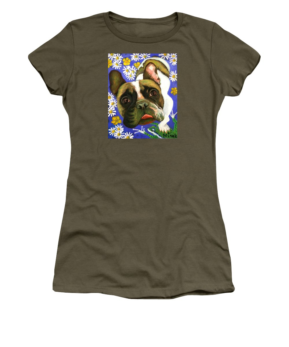 Pet Portrait Women's T-Shirt (Athletic Fit) featuring the painting Frenchie Plays With Frogs by Minaz Jantz