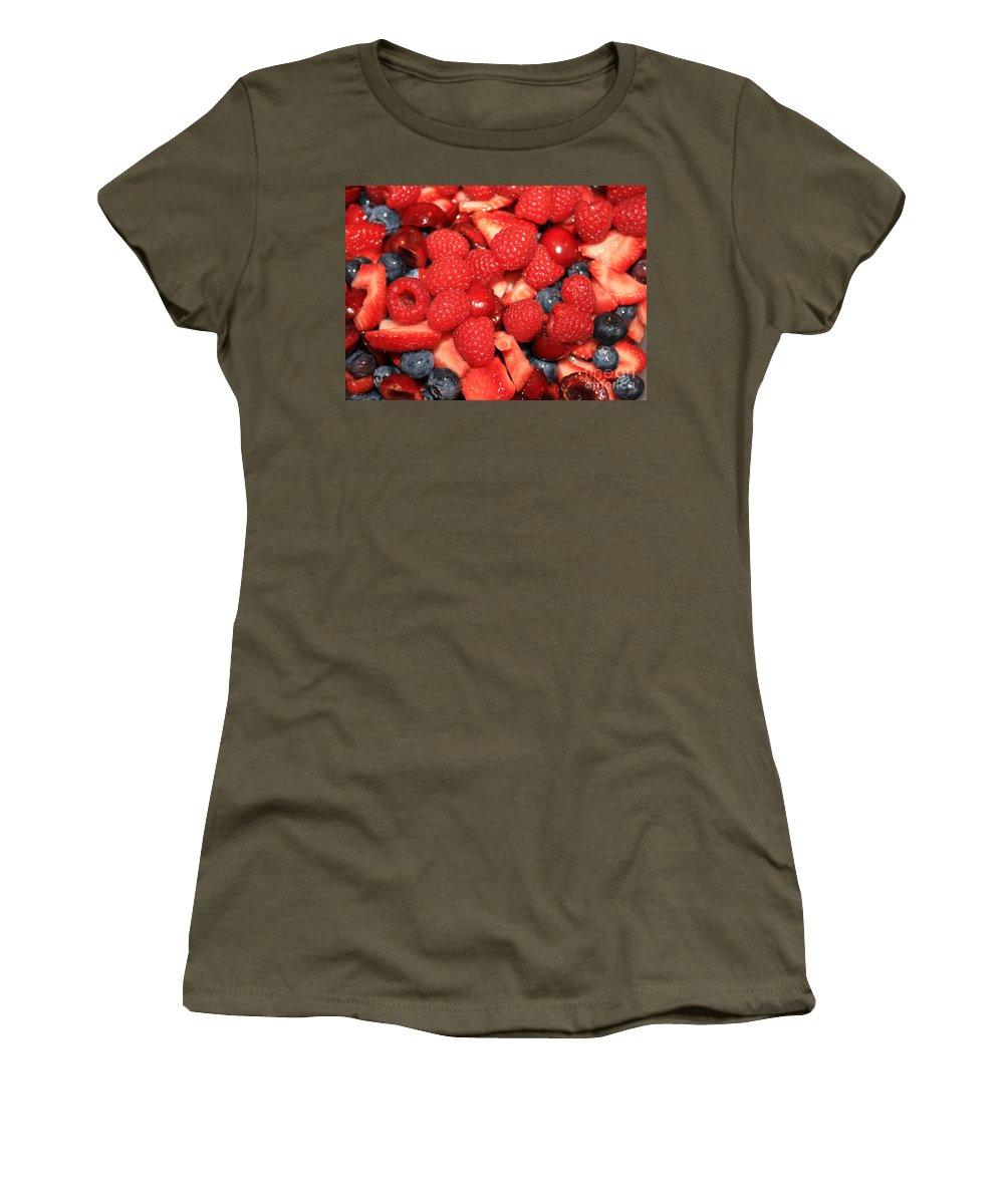Fruit Salad Women's T-Shirt featuring the photograph Fresh Berry Salad by Carol Groenen