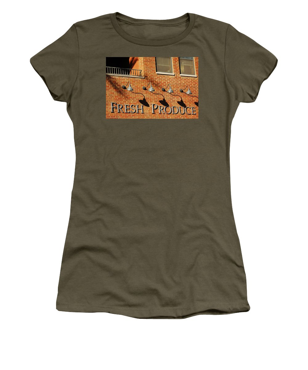 Brick Building Architecture Fresh Produce Lamps Abstract Women's T-Shirt featuring the photograph Fresh Produce Signage by Jill Reger