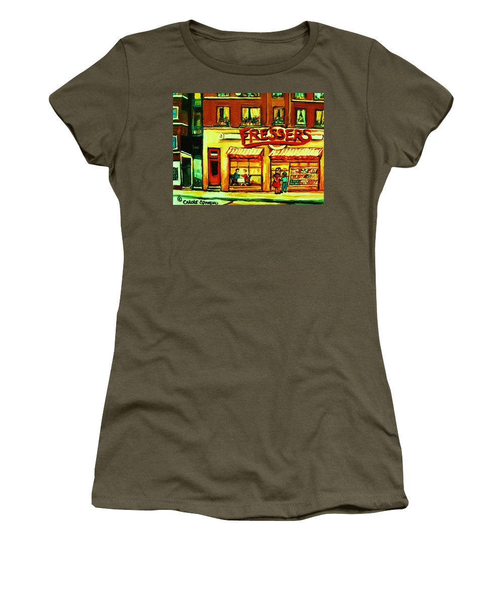 Fressers Women's T-Shirt featuring the painting Fressers Takeout Deli by Carole Spandau