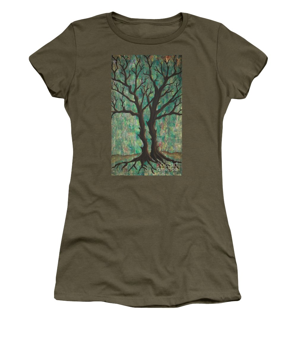 Trees Women's T-Shirt featuring the painting Friends by Jacqueline Athmann
