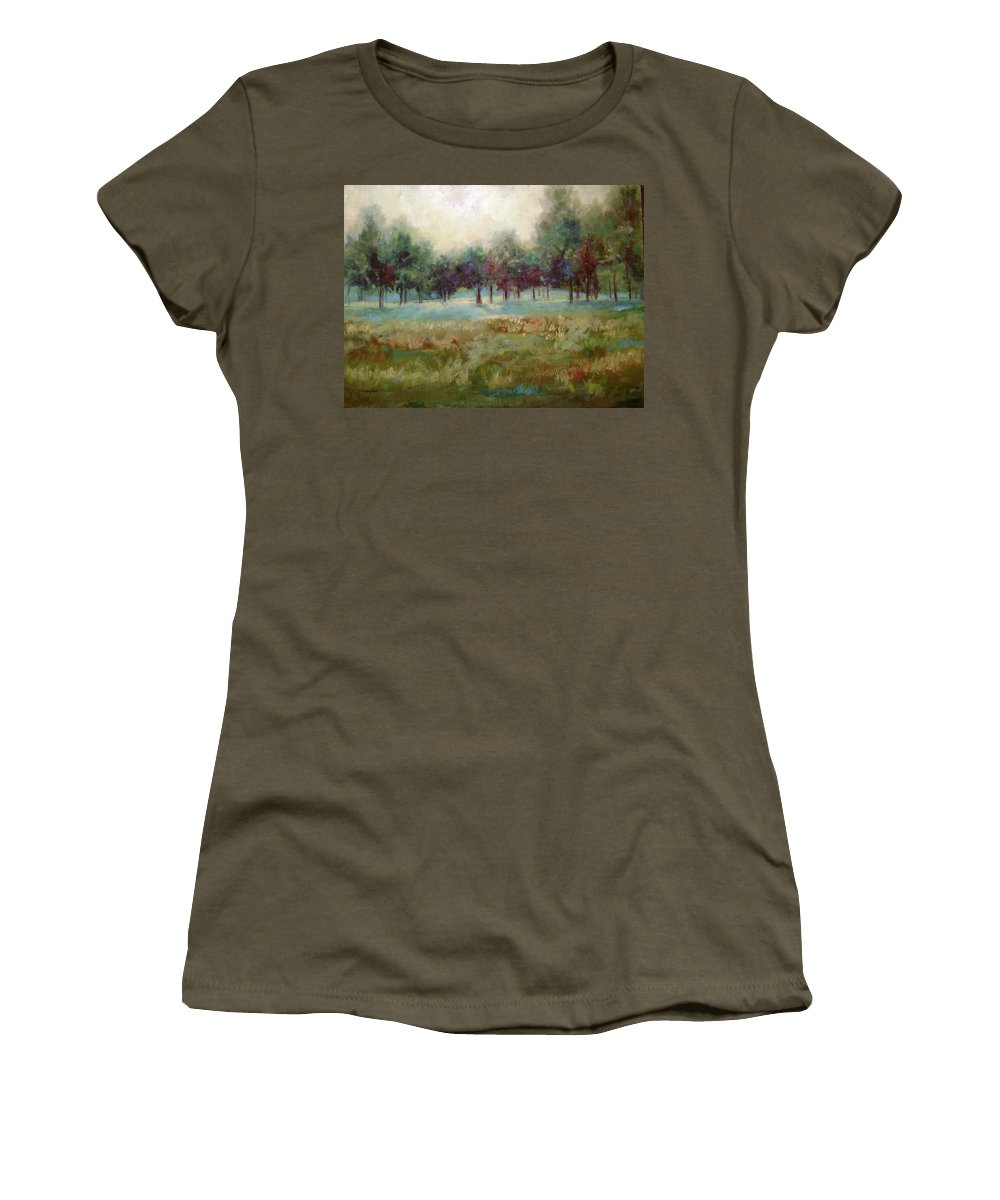 Country Scenes Women's T-Shirt (Athletic Fit) featuring the painting From The Other Side by Ginger Concepcion
