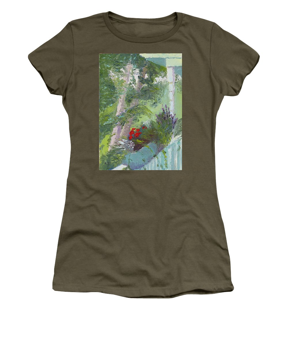 Porch Painting Women's T-Shirt featuring the painting Front Porch View by Lea Novak