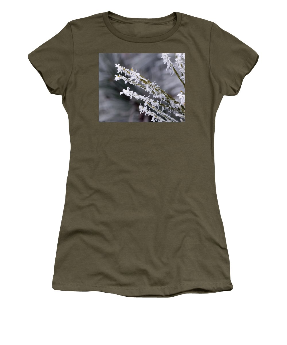 Macro Women's T-Shirt featuring the photograph Frost by Lauren Radke