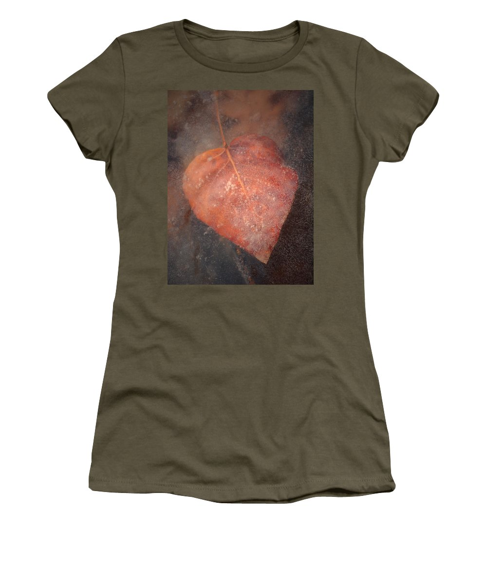 Leaf Women's T-Shirt featuring the photograph Frozen In Time by Tara Turner