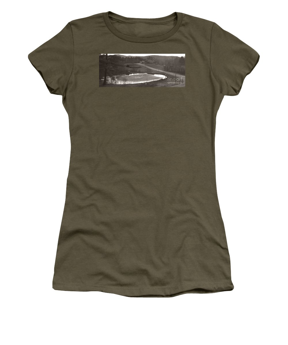 Women's T-Shirt featuring the photograph Frozen Pond Camp Ground Panorama by Heather Kirk
