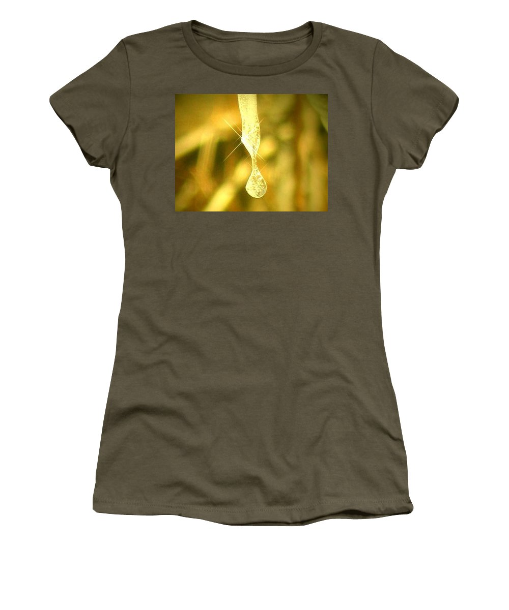 Photography Women's T-Shirt featuring the photograph Frozen Tear by Dawn Marshall