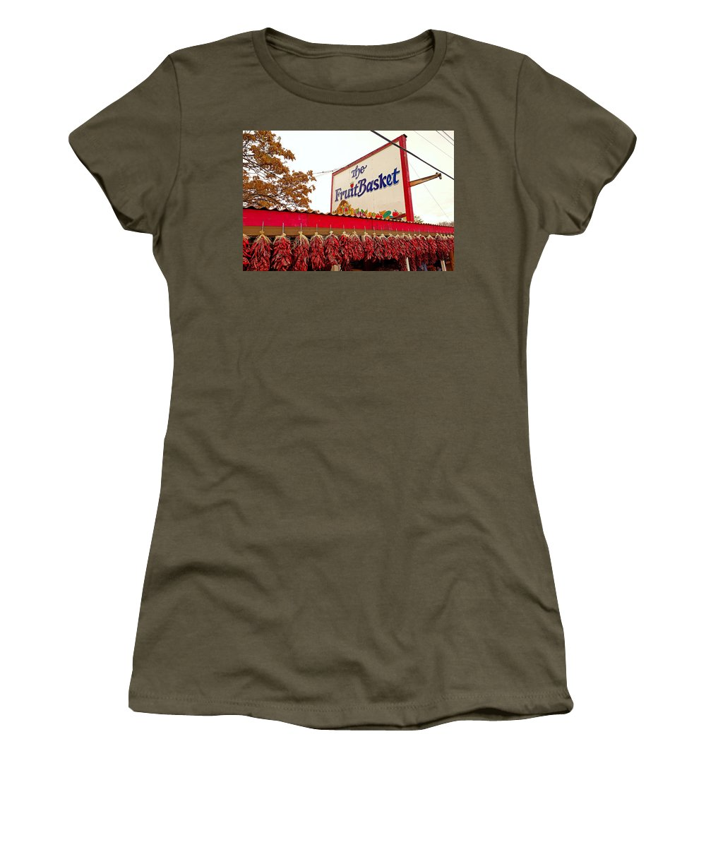 Fruit Basket Women's T-Shirt (Athletic Fit) featuring the photograph Fruit Basket Stand by Robert Meyers-Lussier