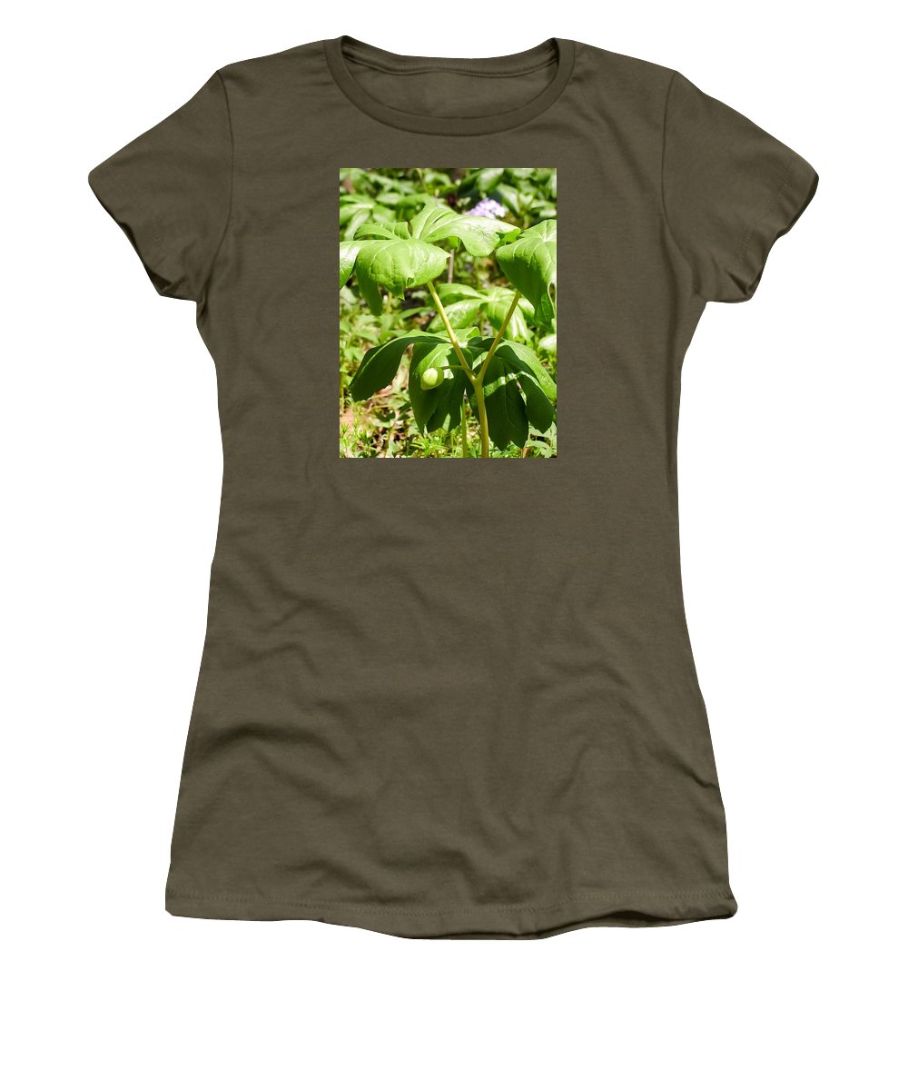 Fruit Of The Mayapple Women's T-Shirt (Athletic Fit) featuring the photograph Fruit Of The Mayapple by Cynthia Woods