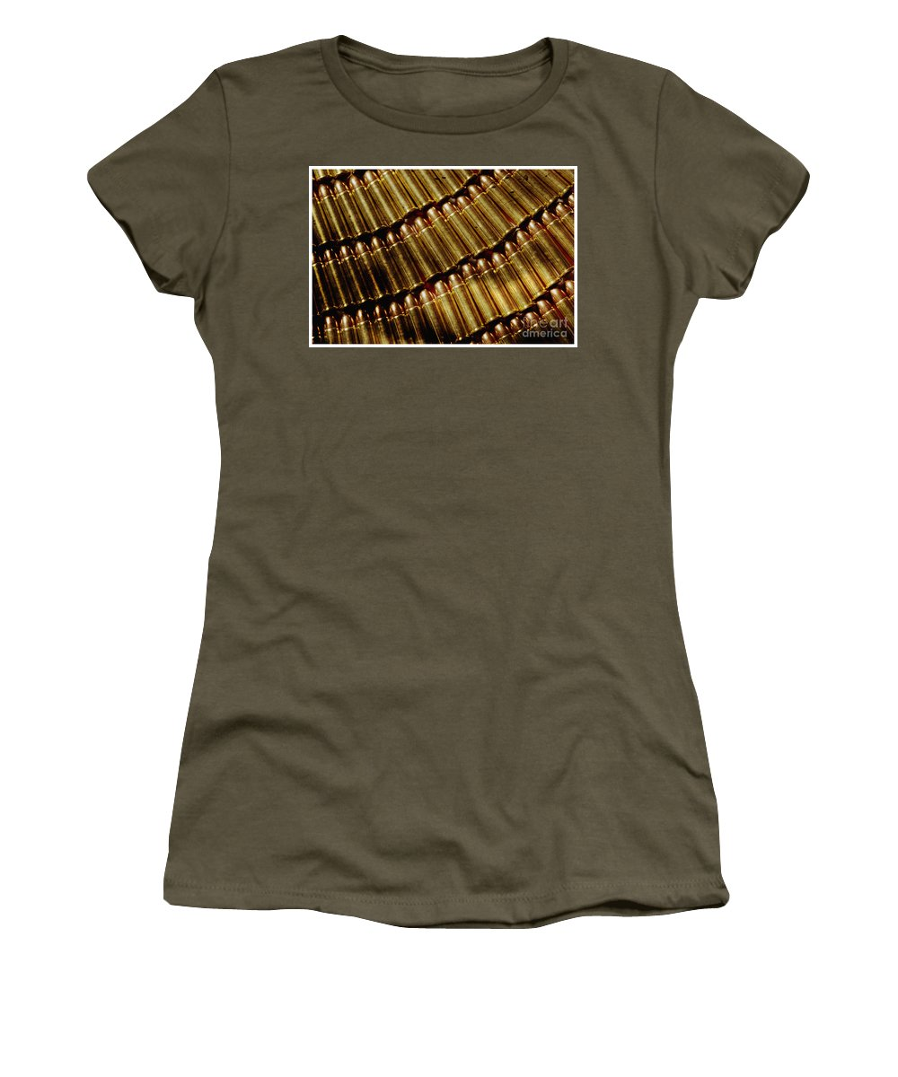 American Dream; Americana; Anxiety; Confrontational; Defiant; Determination; Security; Crime; Social Issue; Social Issues; Suspicion; Terrorism; Trouble; Violence; Warfare; Warning; Weapon; Concept Women's T-Shirt (Athletic Fit) featuring the photograph Full Metal Jackets by Jim Corwin
