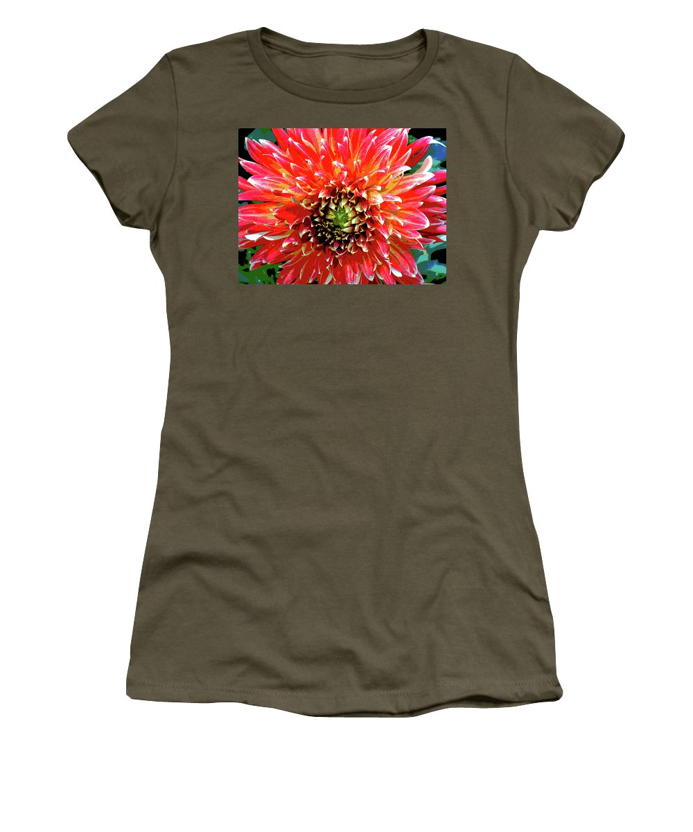 Flower Women's T-Shirt featuring the photograph Full Of Fire II by Cathi Abbiss Crane