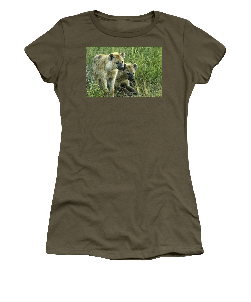 Africa Women's T-Shirt featuring the photograph Fuzzy Baby Hyenas by Michele Burgess
