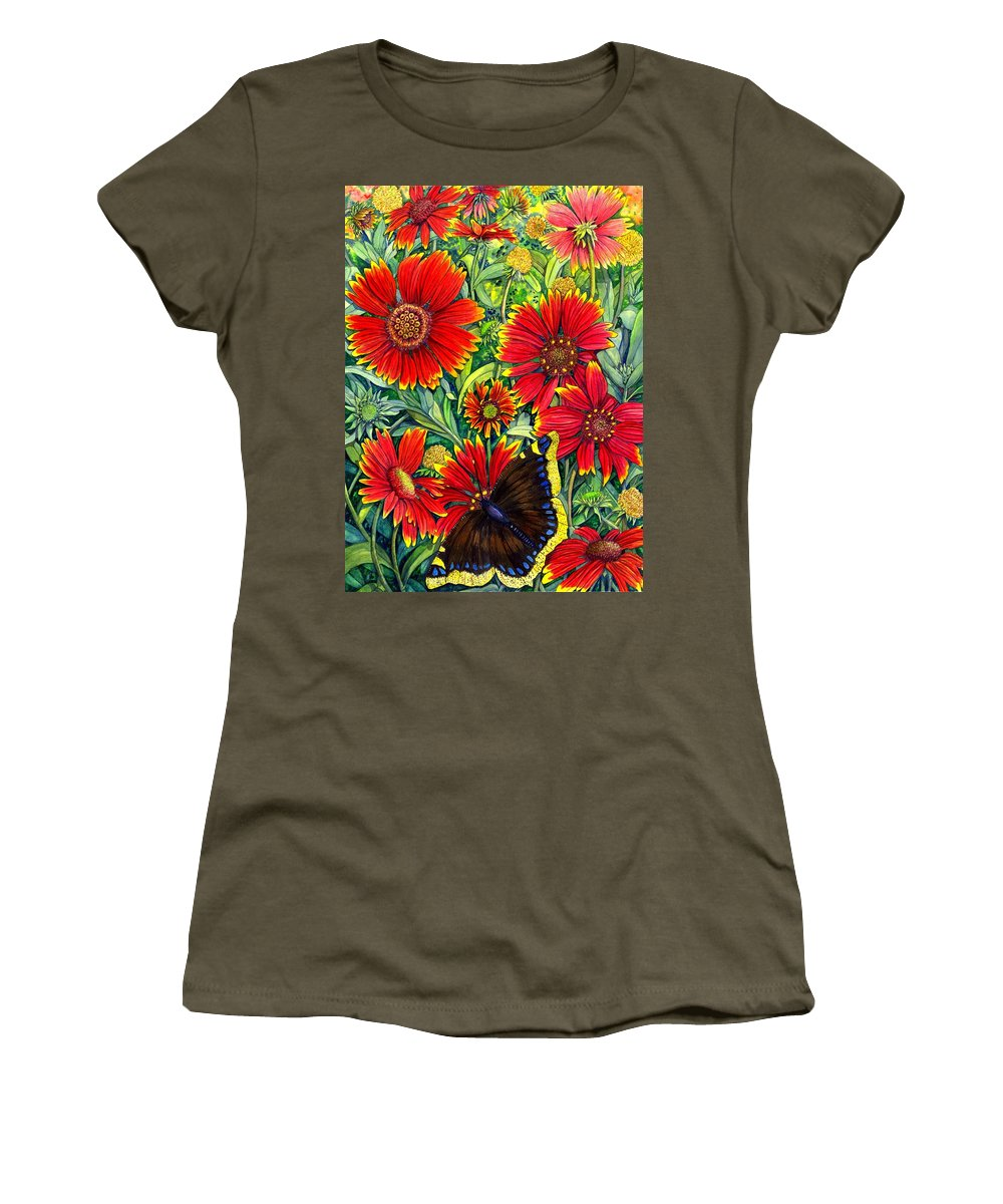 Butterfly Women's T-Shirt featuring the painting Gaillardia by Catherine G McElroy