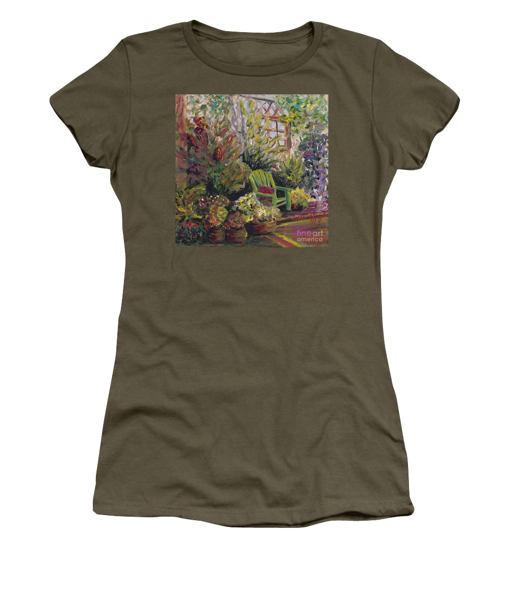 Green Women's T-Shirt (Athletic Fit) featuring the painting Garden Escape by Nadine Rippelmeyer