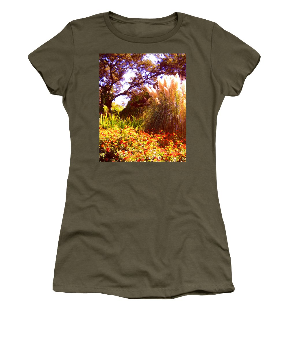 Landscapes Women's T-Shirt featuring the painting Garden Landscape by Amy Vangsgard