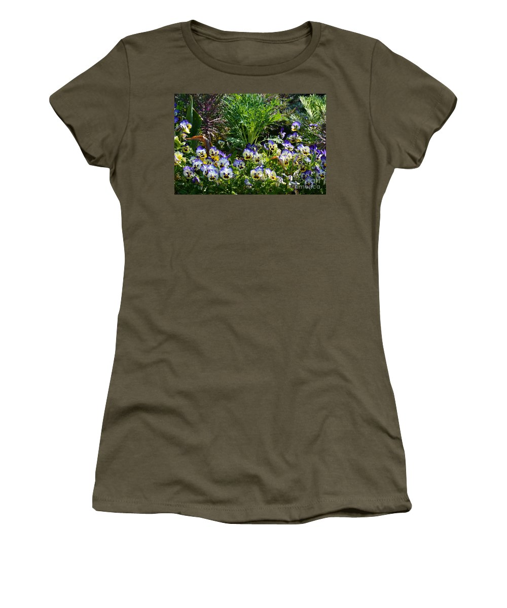 Garden Pansies Women's T-Shirt featuring the photograph Garden Pansies by Maria Urso