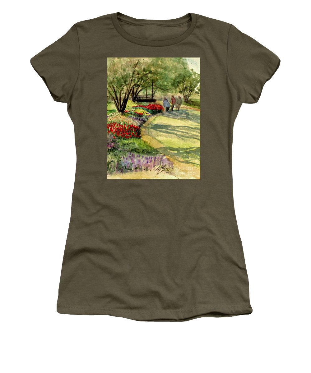 Flowers Women's T-Shirt (Athletic Fit) featuring the painting Garden Walk by Marilyn Smith