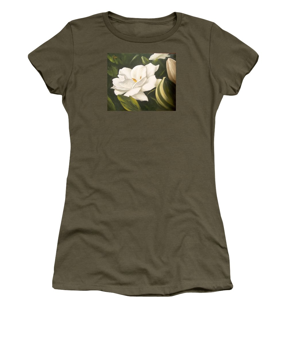 Gardenia Flower Women's T-Shirt (Athletic Fit) featuring the painting Gardenia by Natalia Tejera