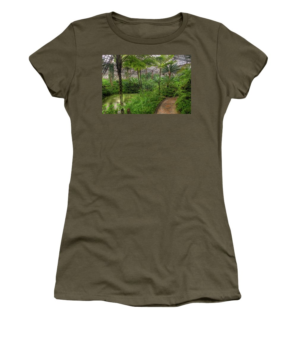 Chicago Women's T-Shirt featuring the photograph Garfield Park Conservatory Pond And Path Chicago by Steve Gadomski