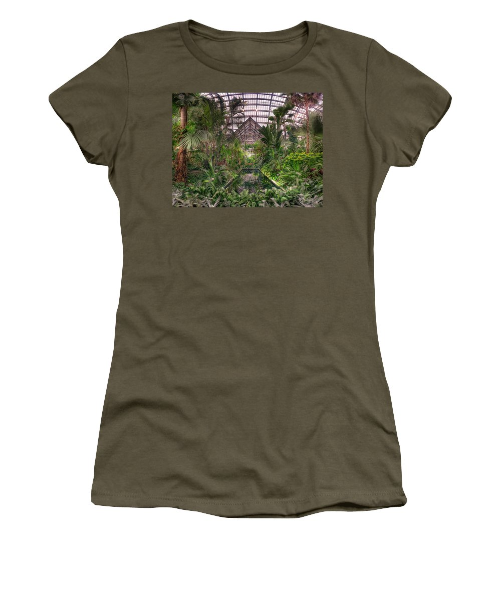 Greenhouse Women's T-Shirt featuring the photograph Garfield Park Conservatory Reflecting Pool by Steve Gadomski