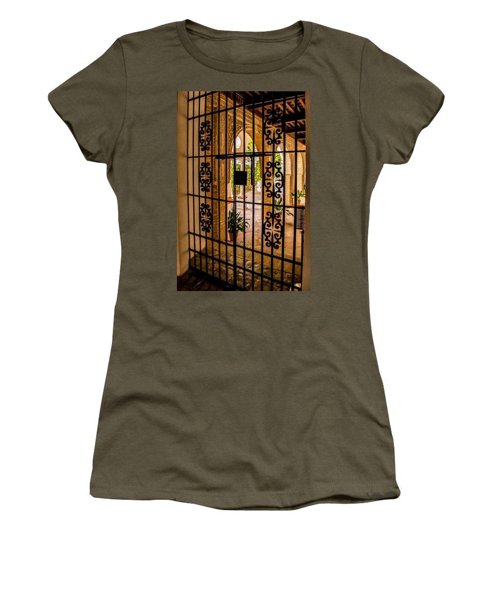 Alcazar Women's T-Shirt featuring the photograph Gate - Alcazar Of Seville - Seville Spain by Jon Berghoff