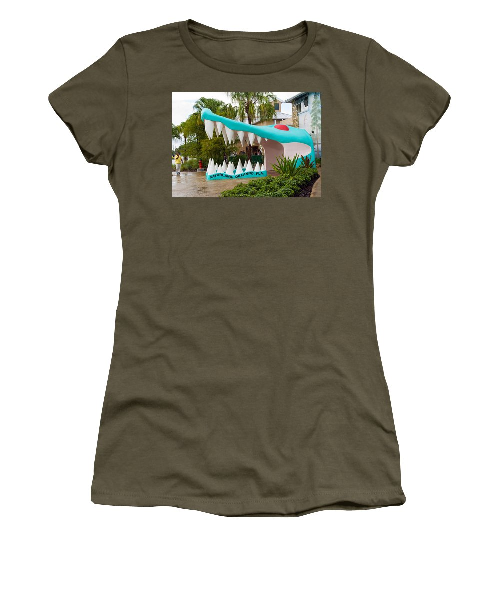 Women's T-Shirt (Athletic Fit) featuring the photograph Gatorland In Kissimmee Is Just South Of Orlando In Florida by Allan Hughes