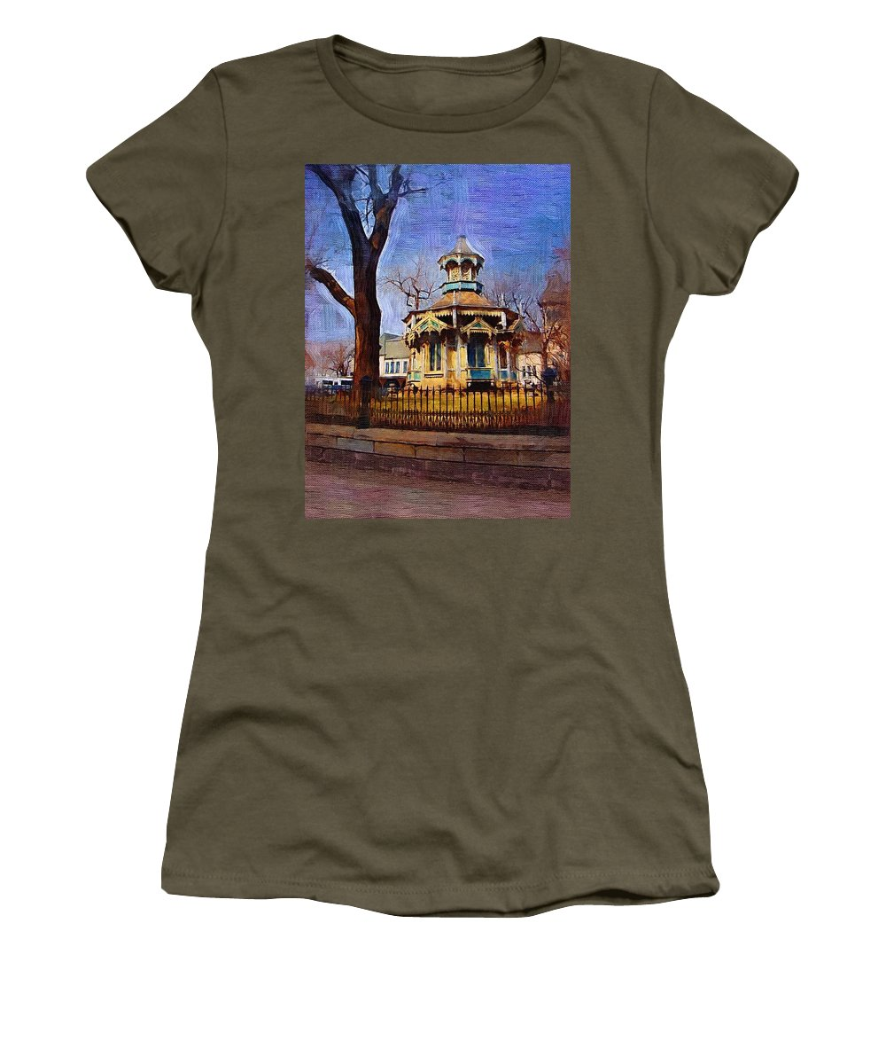 Architecture Women's T-Shirt (Athletic Fit) featuring the digital art Gazebo And Tree by Anita Burgermeister