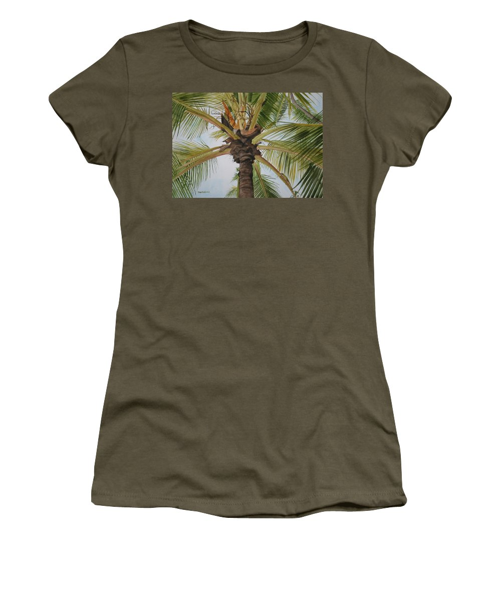 Palm Tree Women's T-Shirt featuring the painting Gecko Heaven by Jean Blackmer