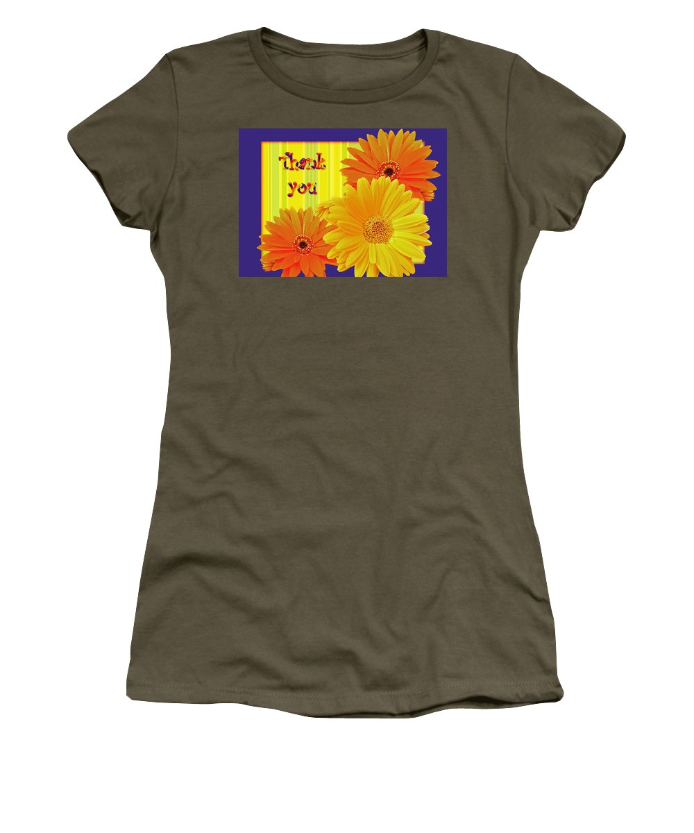 thank You Women's T-Shirt featuring the photograph Gerbera Daisy Thank You Card by Mother Nature