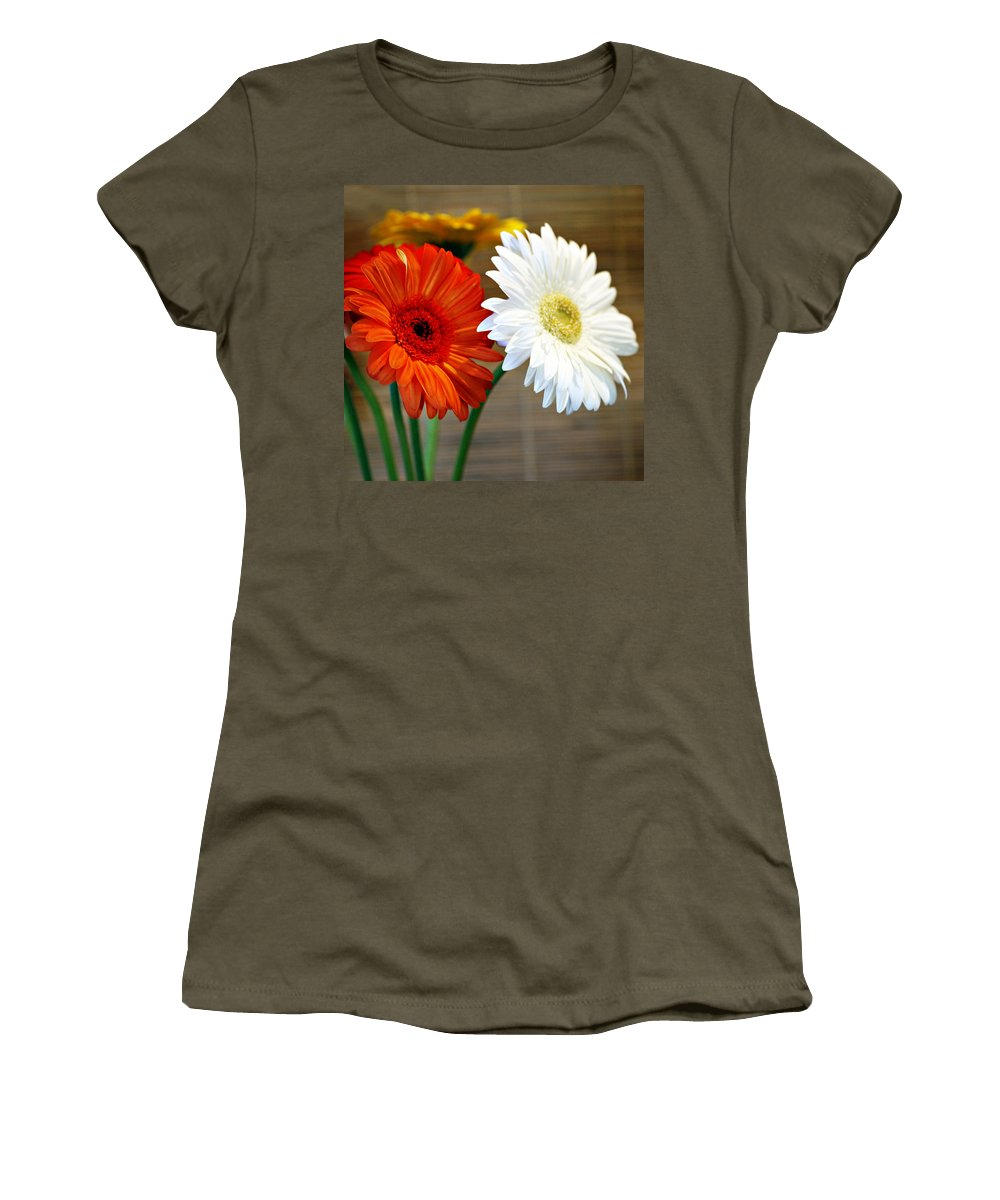 Flower Women's T-Shirt (Athletic Fit) featuring the photograph Gerbers by Marilyn Hunt