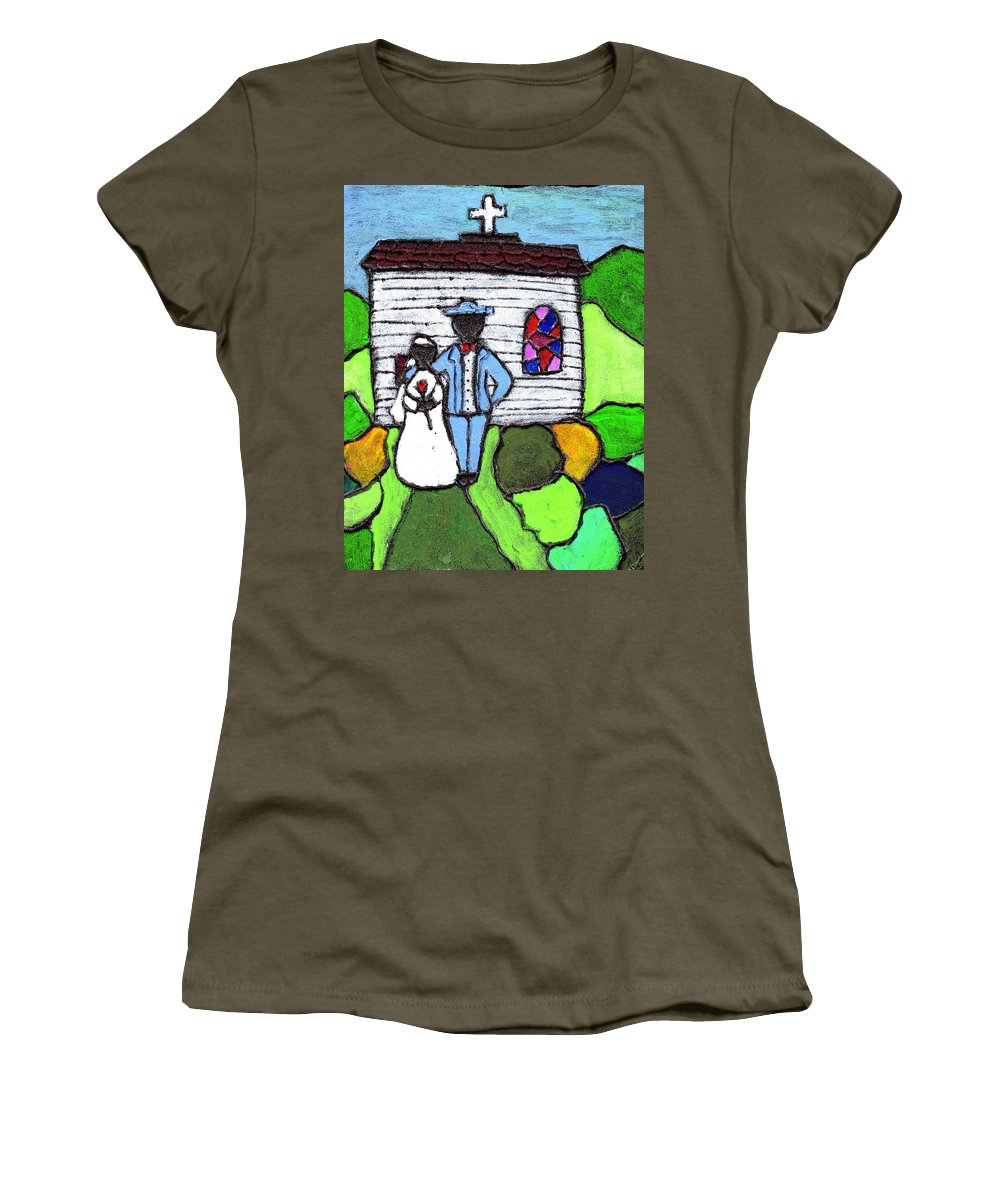 Folk Art Women's T-Shirt (Athletic Fit) featuring the painting Getting Married Today by Wayne Potrafka